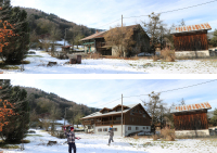 Alpine farmhouse renovation, before & after, south & east facades
