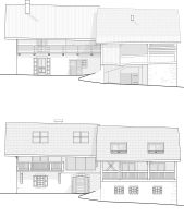 Alpine farmhouse renovation, before & after, east facades
