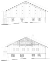 Alpine farmhouse renovation, before & after, north facades