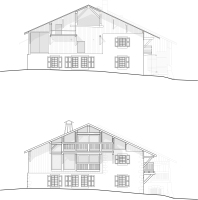 Alpine farmhouse renovation, before & after, south facade