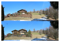 Before & after view of new chalet