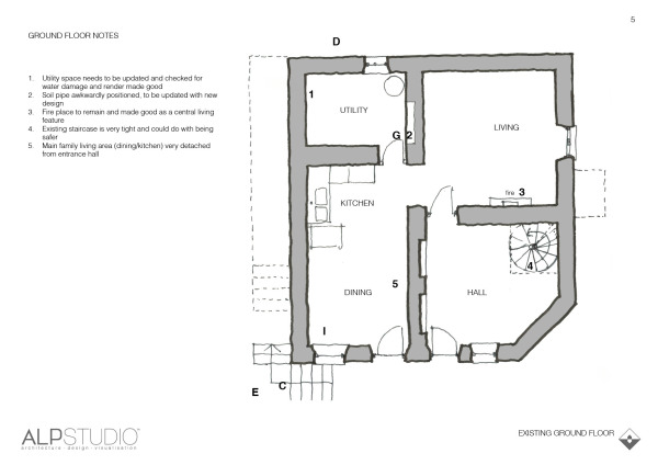 Page 5 : sketch of existing ground floor with notes & ideas for changes