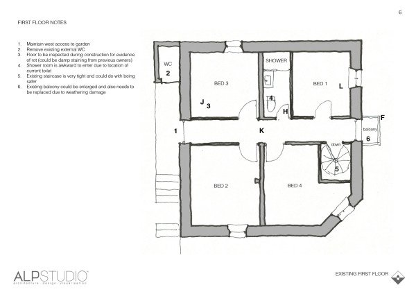 Page 6 : sketch of existing first floor with notes & ideas for changes