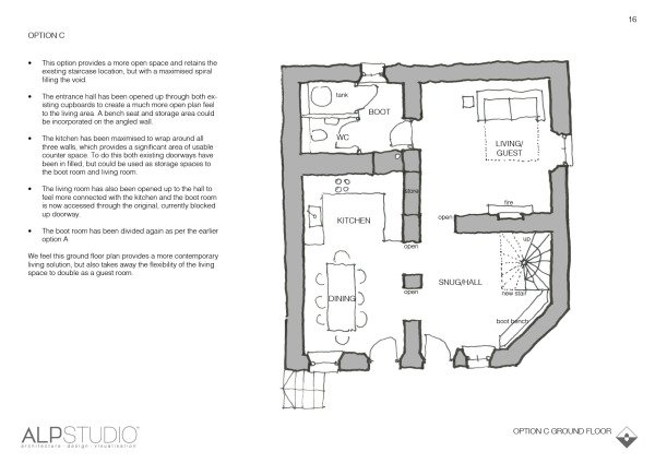 Page 16 : suggested first floor layout, option A